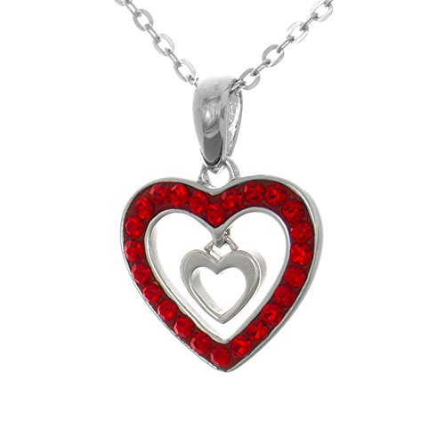 925 Sterling Silver Necklace Valentine Heart Pendant, Red CZ Heart with Mini Dangle Heart Inside