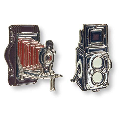 Foto Inventos Bellows Camera and Twin Lens Reflex Camera Color Metal Enamel Lapel Pin Set ()
