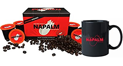 Napalm Coffee, EXTRA DARK ROAST, Keurig K-Cups, 12 Count with MUG - GIFT SET