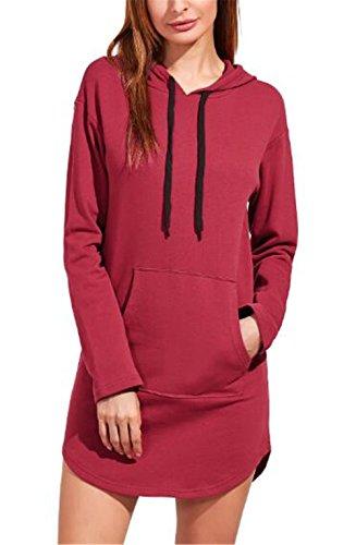 Lungo Colore Con Lunga Con Elegante Casual Kerlana Cappotto Cappuccio Moda Puro Donna Hoodies Sweatshirt Sweater Tasche Red Manica Sportiva Pullover AIwCq7
