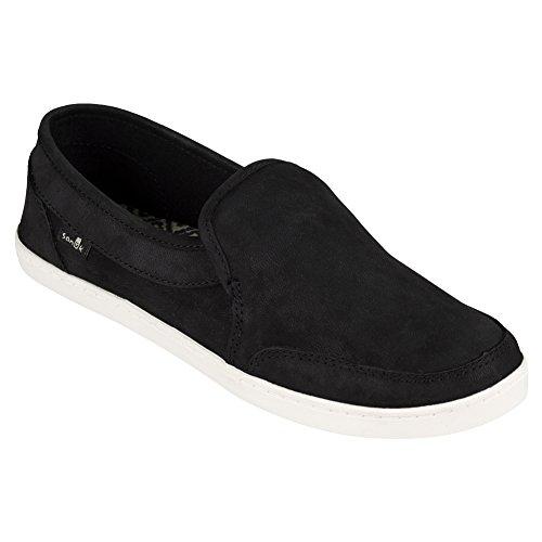 Sanuk Damen Paar O Dice Leder Loafer Flat Schwarz