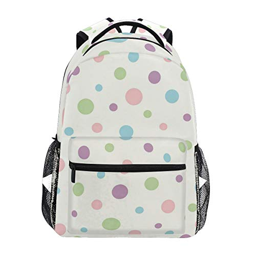 Women/Man Canvas Backpack Special Dotty Pink Polka Zipper College School Bookbag Daypack Travel Rucksack Gym Bag For Youth