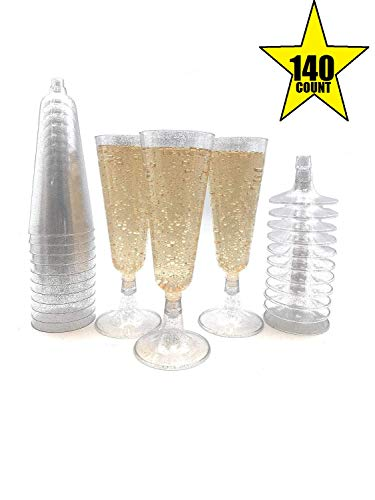 - 140 pc Silver Glitter Plastic Classicware Glass Like Champagne Wedding Parties Toasting Flutes Party Cocktail Cups
