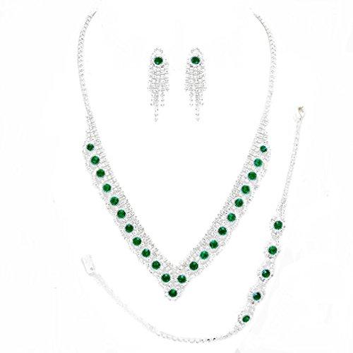 Uniklook Elegant Pave Bubble Cluster V-shape Drop Rhinestone Necklace Fringe Earrings Jewelry Set (emerald green)