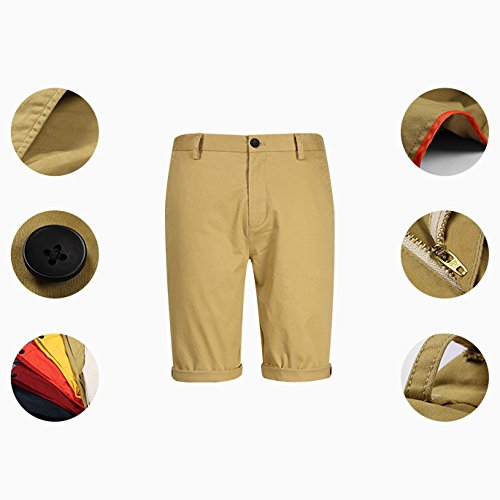 Verde Hombres Pantalones Hombre De Colores Casuales 5 Simples Playa Rectos Cortos Yra Lisos IOx7q4wZI