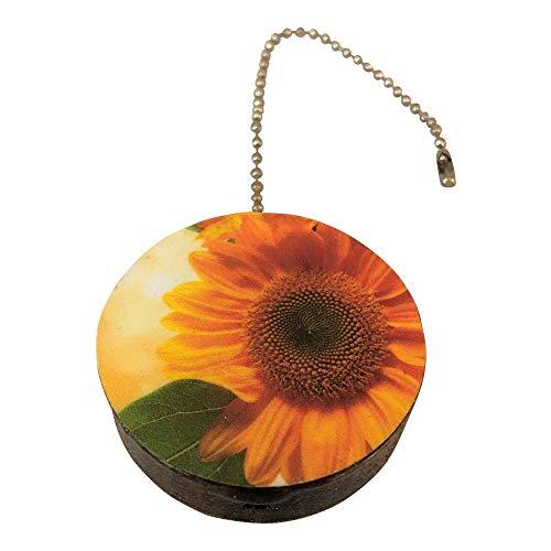 Sunflower Round Wood Fan/Light Pull