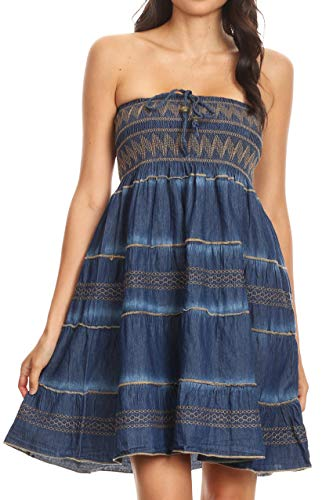 Smock Top Dress - Sakkas 17187 - Eva Womens Denim Strapless Tube Top Smock Short Sleeveless Dress Chambray - Chambray-Brown - OS
