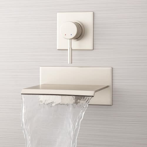 "378993 Lavelle 6-1/2"" Wall Mounted Waterfall Tub Faucet with Metal Lever Handle Diverter"