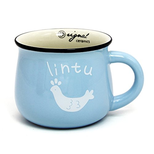 Momugs 12 oz Coffee Cup, Novely Cute Lovely Cartoon Animal Pattern Milk Mug, Sky-blue