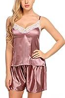 ADOME Women Satin Pajamas Lace Camisole Short Sets Strap Sleepwear Coffee XL
