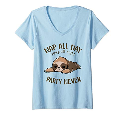 Womens Sweet Sloth Nap All Day Sleep All Night Party Never V-Neck T-Shirt