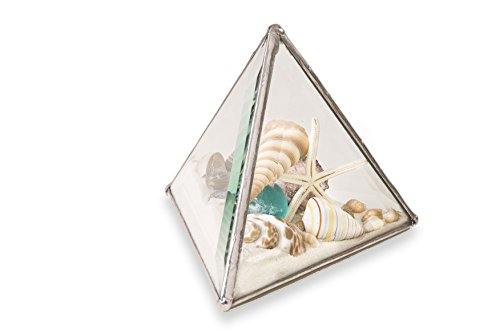 "- Christina Home Designs Sand Globe - 3"" Beach Kaleidoscope Pyramid - Snow Globes and Beach Decor - Beach Decorations for Home - Beach Snow Globe for Gifts, Paperweight, Office Use"