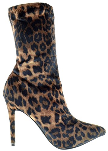 Stiletto Boots Toe Anne Elastane Womens Michelle Dedicate 48M Leopard Velvet Pointy xCTC0q8Y