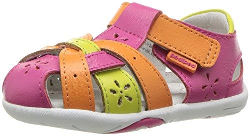 pediped Girls' Nikki Mary Jane Flat, Pink/Orange, 20 Regular EU Toddler (5 -