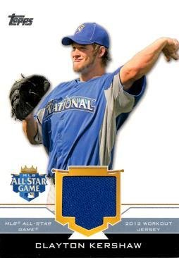 2012 Topps Update All-Star Stitches Relics #AS-CLK Clayton Kershaw Workout Worn Jersey Baseball Card