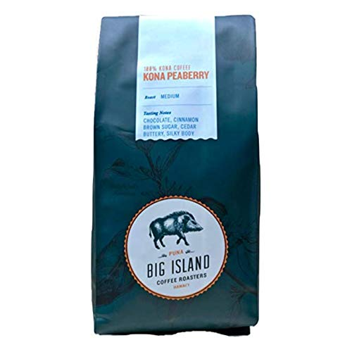Hawaii Roasters - 100% Kona Peaberry Coffee Ground (10oz). Grounded for Auto Drip. Premium 'Kona Coffee' Medium Roasted by Big Island Coffee Roasters, Hawaii.