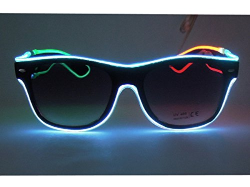 El Wire Multi-color Glasses Light Up Clear Wayfarer Led Rainbow Glasses for Festival Rave Party Gift