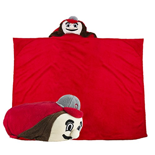 Comfy Critters Stuffed Animal Blanket – College Mascot, Ohio State University 'Brutus Buckeye' – Kids huggable pillow and blanket perfect for the big game, tailgating, pretend play, and much more (Ohio Buckeyes Toys State)