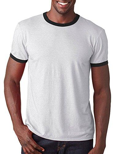 Anvil Adult Lightweight Ringer T-Shirt, Wht/Blk, Medium