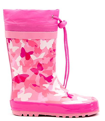 MOFEVER Toddler Girls Kids Rain Boots Rubber Waterproof Shoes Printed Lovely Pink Butterfly Cute Print with Easy Adjustable Tighten String (Size 7,Pink)