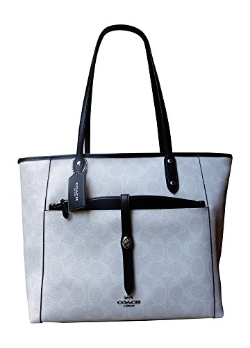 Coach City Tote with Pouch in Signature Coated Canvas, Signature Chalk, Black