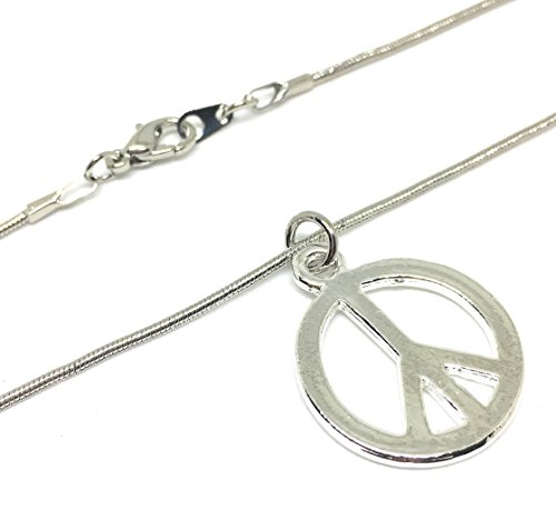 "Hippie Peace Sign Jewelry Set (Stainless Steel Pendant, Hippie Peace Sign Love Pendant Necklace 20"")"