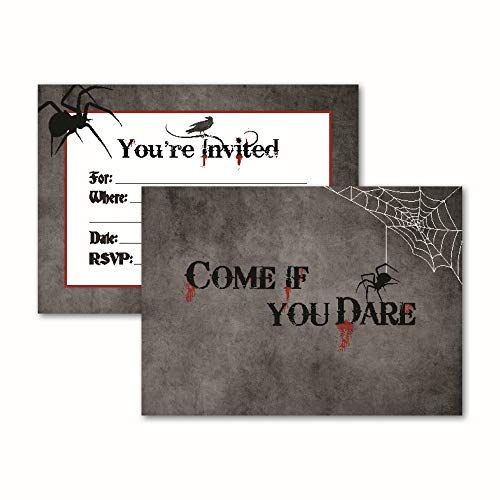 Come If You Dare: 15 Halloween Invitations with Envelopes for Adult, Themed, Costume, or Kids Party. Spooky Blood and Spider Card Invites. Invite Your Friends with These Perfect Party