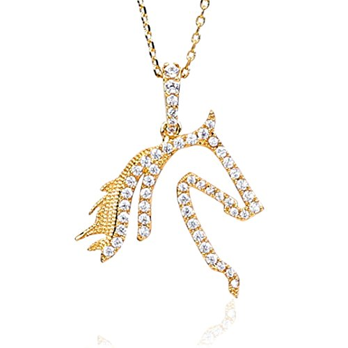 NickAngelo's Horse Pendant Necklace 18K Gold Plated Jewelry Cubic Zirconia for Women (Gold-Plated-Copper, Cubic-Zirconia)