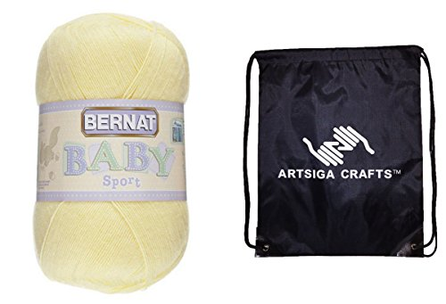 (Bernat Baby Sport Big Ball Yarn Solids (1-Pack) Baby Yellow 163121-21615 Bundle with 1 Artsiga Crafts Project Bag)