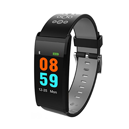 JIAYUAN X20 Fitness Tracker Watch IP68 Waterproof Smart Bracelet Wristband with Heart Rate Blood Pressure Monitor Bluetooth 4.0 with Sleep Monitor Step Tracker for iOS Android Smartphones (Gray)