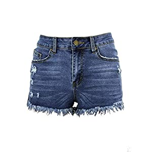 Aodrusa Womens Ripped Denim Shorts Mid Rise Body Enhancing Curvy Cutoff Distressed Jeans