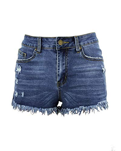 Distressed Spandex Shorts - Aodrusa Womens Ripped Denim Shorts Mid Rise Body Enhancing Curvy Cutoff Distressed Jeans Blue US 10-12