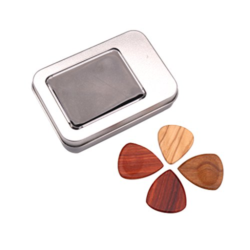 Baoblaze 1 Set Exquisite 4x Wooden Plectrums Picks for Guitar/Bass/Banjo/Ukulele Accessory