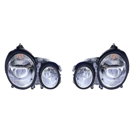 Fits Mercedes-Benz E Class 2000-2002 Headlight Assembly Projector Chrome Pair Driver and Passenger Side ()