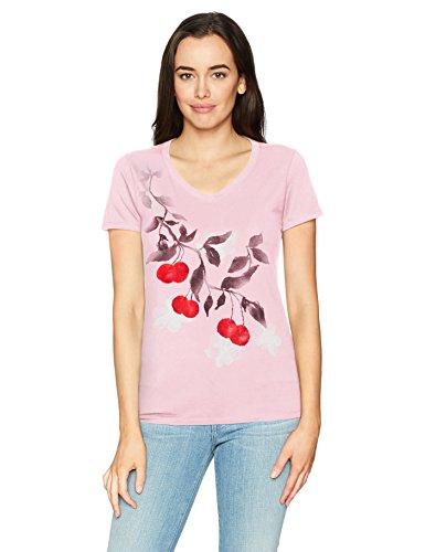 (Hanes Women's Short Sleeve Graphic V-Neck Tee, Cherries Jubilee/Paleo Pink, X Large)