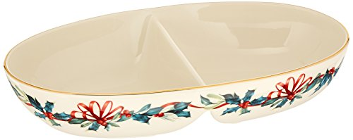 Lenox Winter Greetings Divided Oval Bowl by Lenox