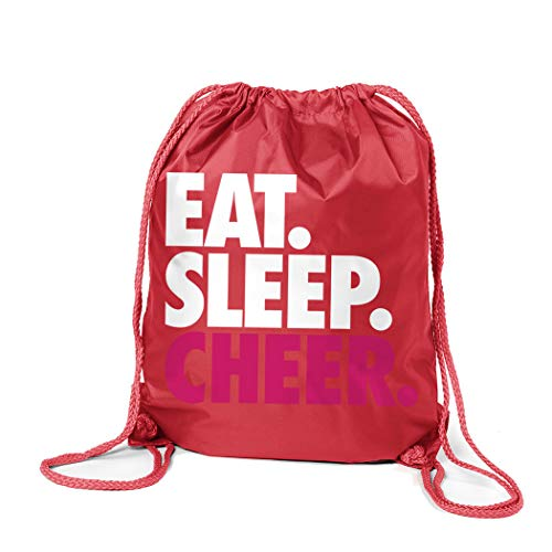 (ChalkTalkSPORTS Cheerleading Sport Pack Cinch Sack | Eat Sleep Cheer | Red)