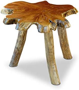 Beperk Korting Teak Wortelhout bijzettafel THAWI - 45 x 50-60 x 50-60 cm tafelblad van massief boomschijf in rustieke landhuisstijl, geschikt voor woonkamer, serre of als koffietafel  jIPU2tS