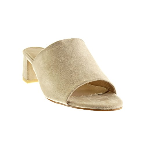 Mode 5 Sandale Chaussure Mule cm Talon 5 Beige Angkorly Femme Bloc x8wf5HHqE