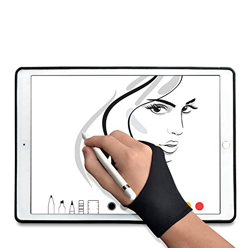 TFY Artists Drawing Anti-Fouling Glove with Two Fingers for Graphics Tablets, Tablet Monitors and Sketch Painting – 1 Piece