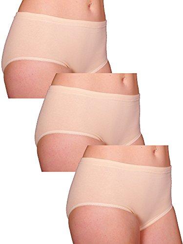 FTSD - FindTheSecretDreams 3er Sparpack Slip ohne Seitennähte, Weiß/Hautfarben, Baumwolle Nr. 143 Hautfarben