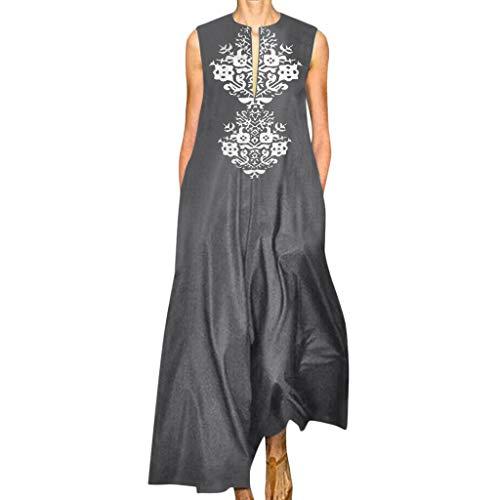 JustWin Ladies Print Sleeveless Loose Dress Women Summer V-Neck Bohemian Dresses Maxi Dress Gray ()