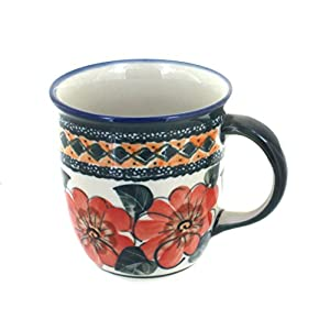 Blue Rose Polish Pottery Peach Floral Plain Coffee Mug