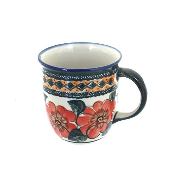 Blue Rose Polish Pottery Peach Floral Plain Coffee Mug