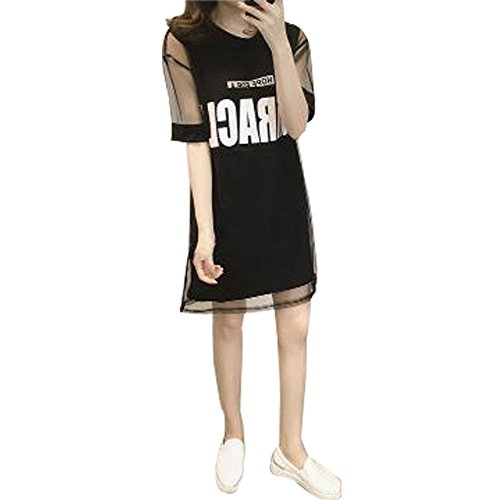 請求可能ハンカチに関してSHENGAO レディース ファッション ロング スカート 春夏 秋 カジュアル 素晴らしい 英字 ワンピース 半袖 ひざ丈 きれいめ