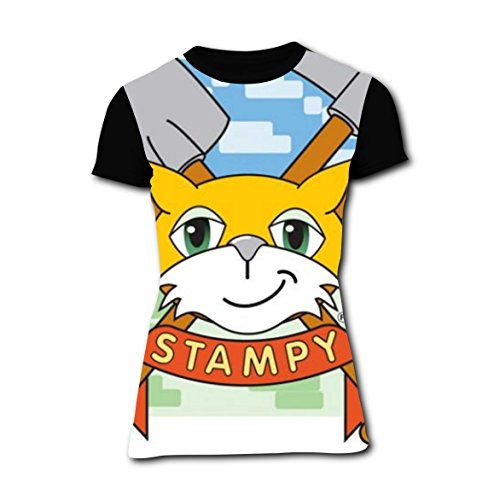 stampy-kitty cat Women Printed Short Sleeve T-shirts Crew Neck Tees for Women M