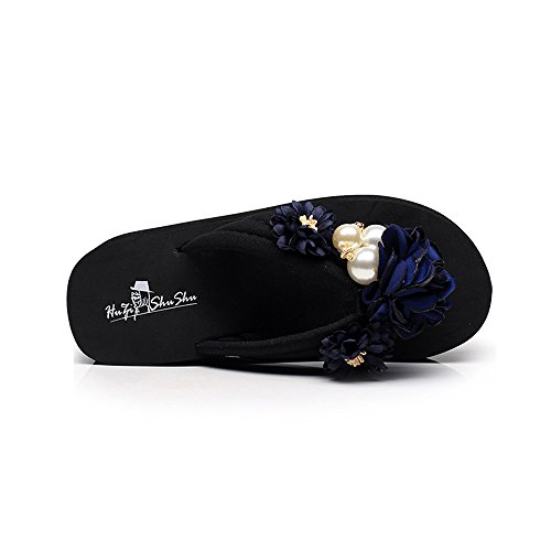 Sandals ZHIRONG Non-slip Female Summer Fashion Flowers Pinch Beach Shoes Thick Bottom Wedges Slippers (Color : B, Size : EU36/UK3.5/CN35) C