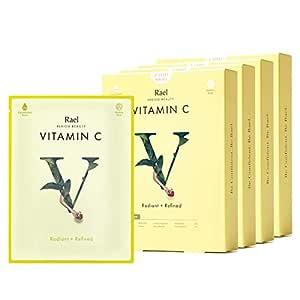 Rael Bamboo Face Sheet Mask - Natural Facial Mask with Vitamin C, All Skin Types, Vegan and Botanical Ingredients (Vitamin C, 20 Sheets)