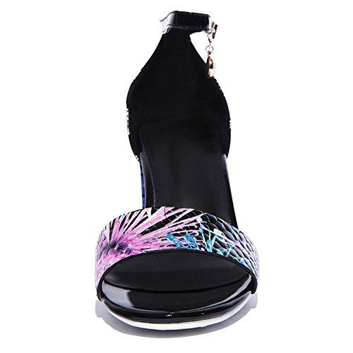Damen Mode Leder Knöchelriemchen Sandalen mit Blockabsatz Schwarz