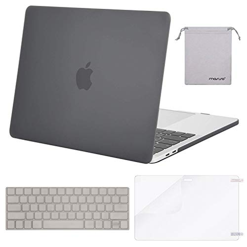 MOSISO MacBook Pro 15 Case 2018 2017 2016 Release A1990/A1707 Touch Bar Models, Plastic Hard Shell & Keyboard Cover & Screen Protector & Storage Bag Compatible Newest Mac Pro 15 Inch, Gray